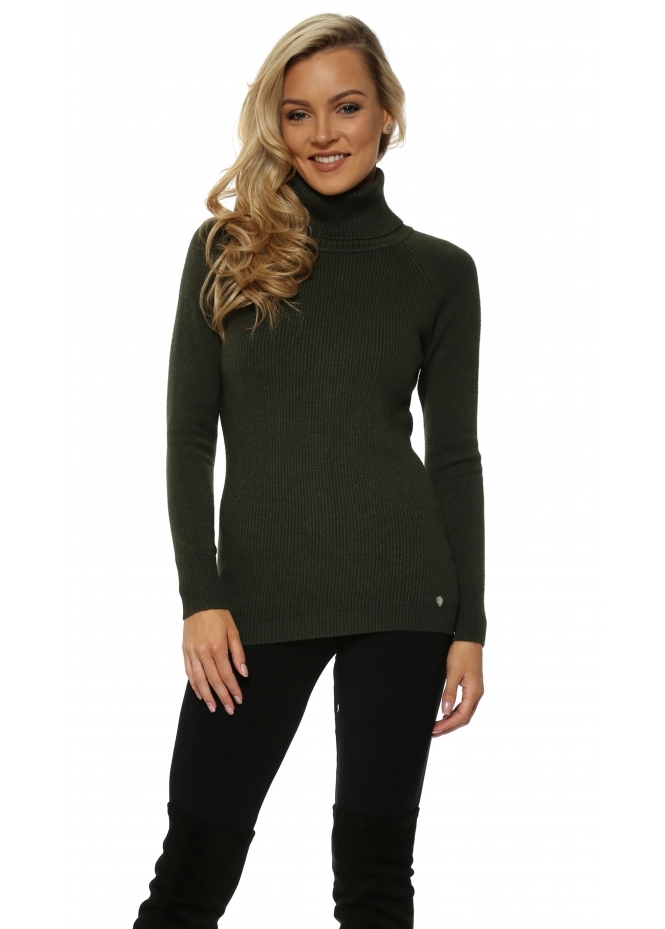 Italian Boutique Khaki Soft Fine Ribbed Polo Neck Jumper