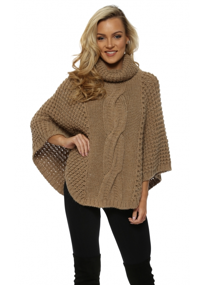 J&L Paris Caramel Chunky Cable Knit Polo Poncho