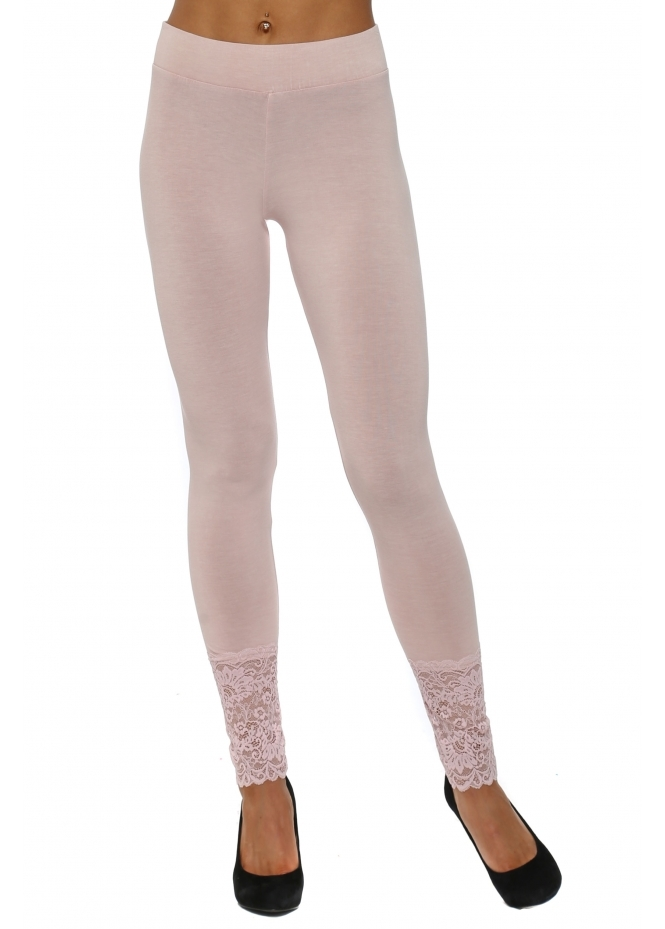 A Postcard From Brighton Biba Plain Chalk Jersey Lace Bottom Leggings