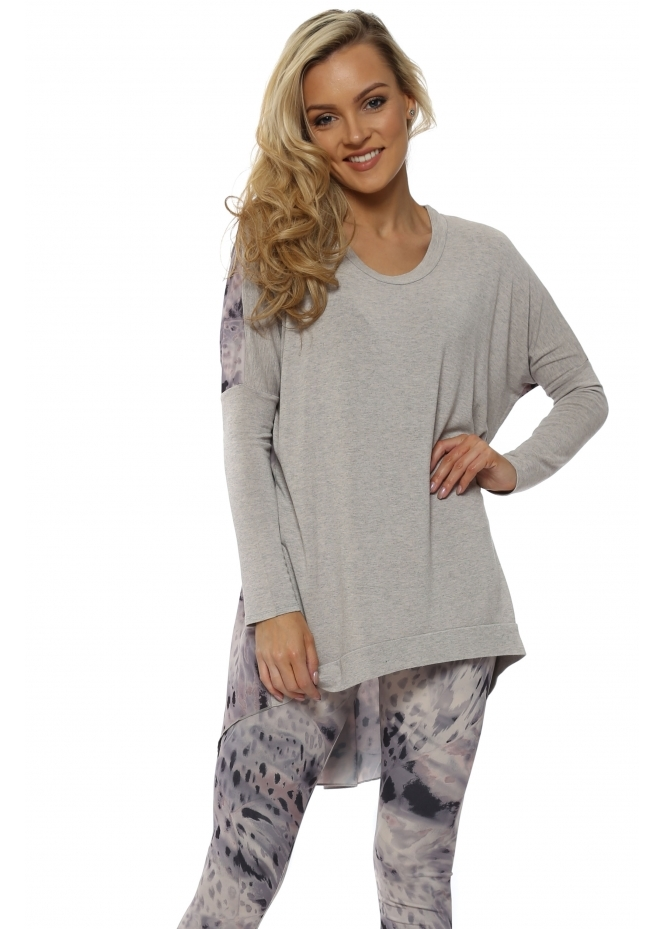 A Postcard From Brighton Rowan Rain Shadow Chalk Melange Split Back Top