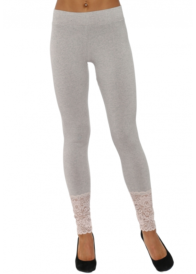 A Postcard From Brighton Biba Melange Chalk Jersey Lace Bottom Leggings