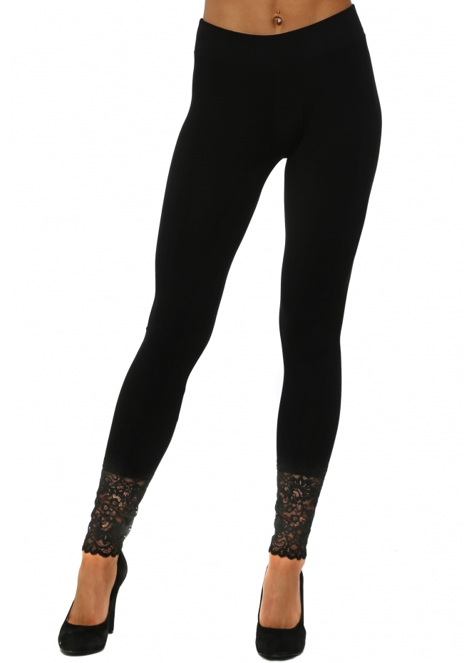 A Postcard From Brighton Biba Plain Black Jersey Lace Bottom Leggings