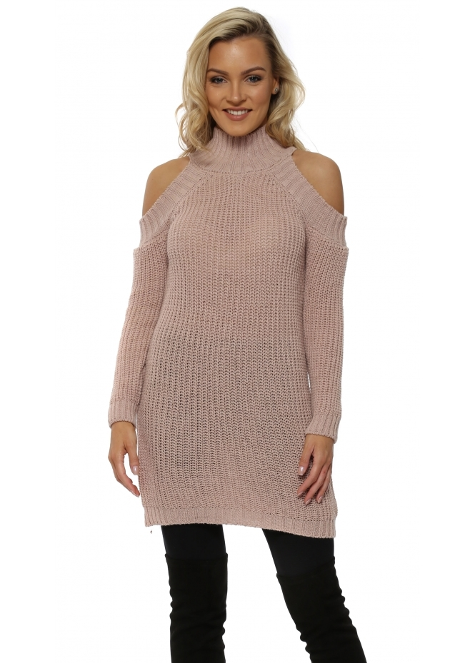 French Boutique Pink Polo Neck Cold Shoulder Chunky Knit Jumper