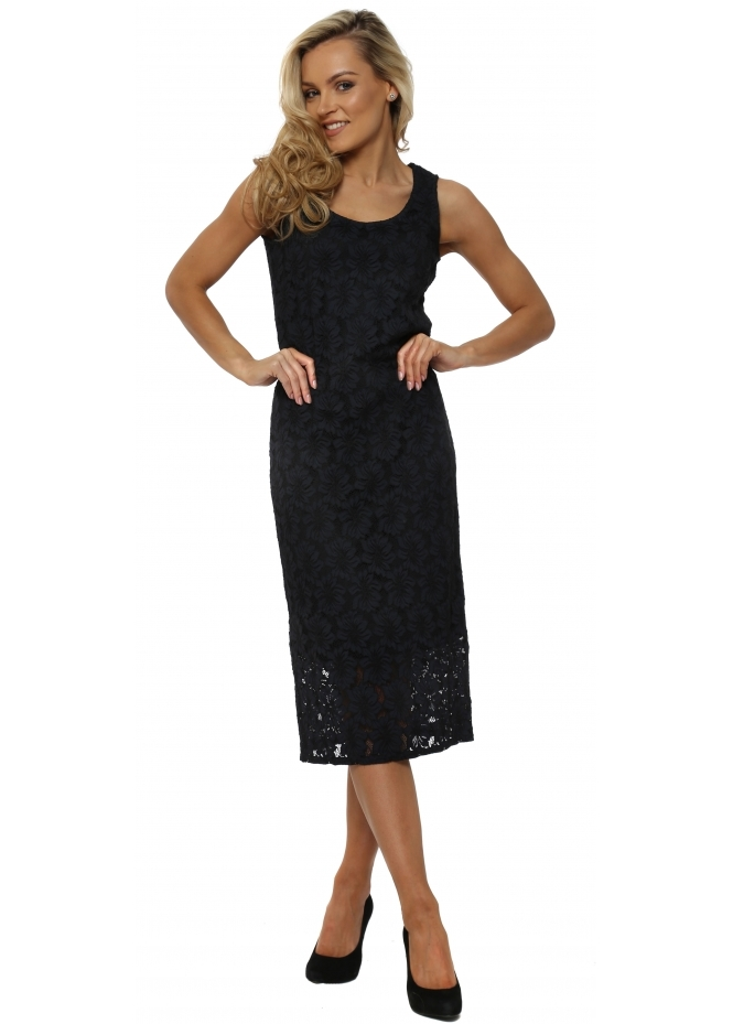 A Postcard From Brighton Lola Sleeveless Lace Midi Pencil Dress In Black