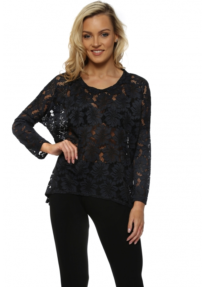 A Postcard From Brighton Karma Black Lace Long Sleeved Top