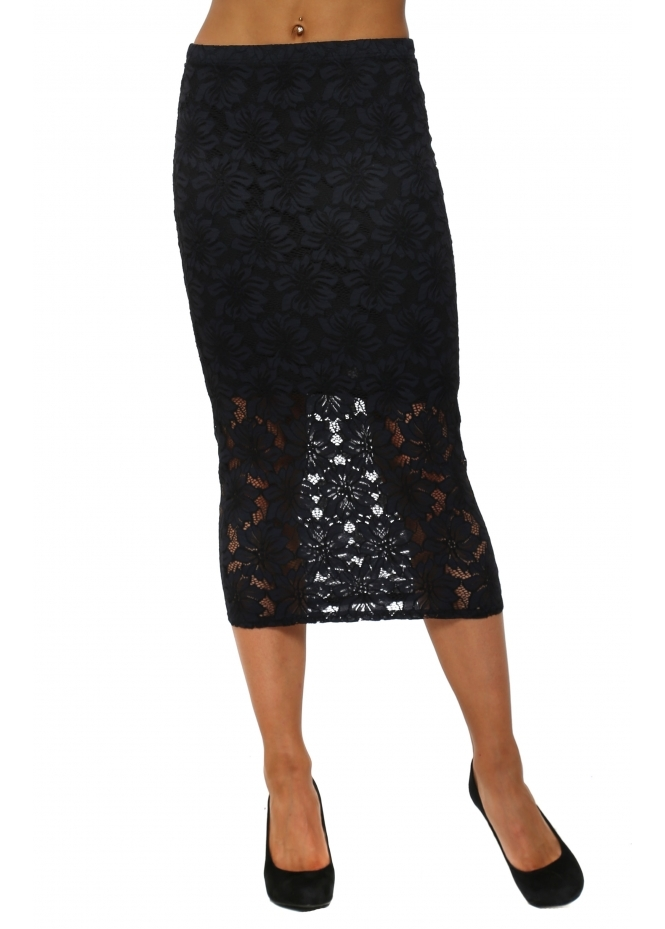 A Postcard From Brighton Layla Black Lace Pencil Skirt