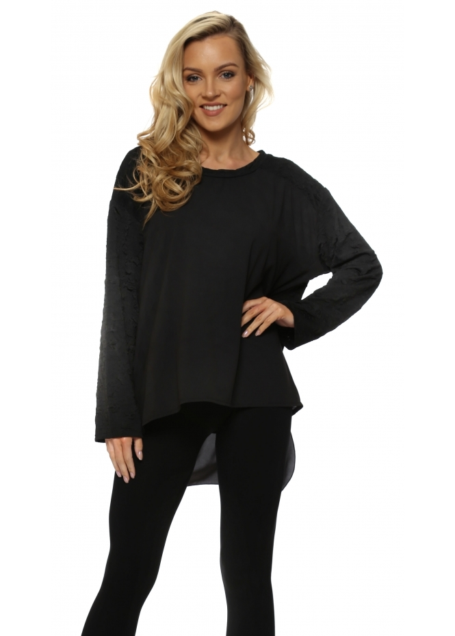 A Postcard From Brighton Claudia Cloque Black Dip Hem Tunic Top
