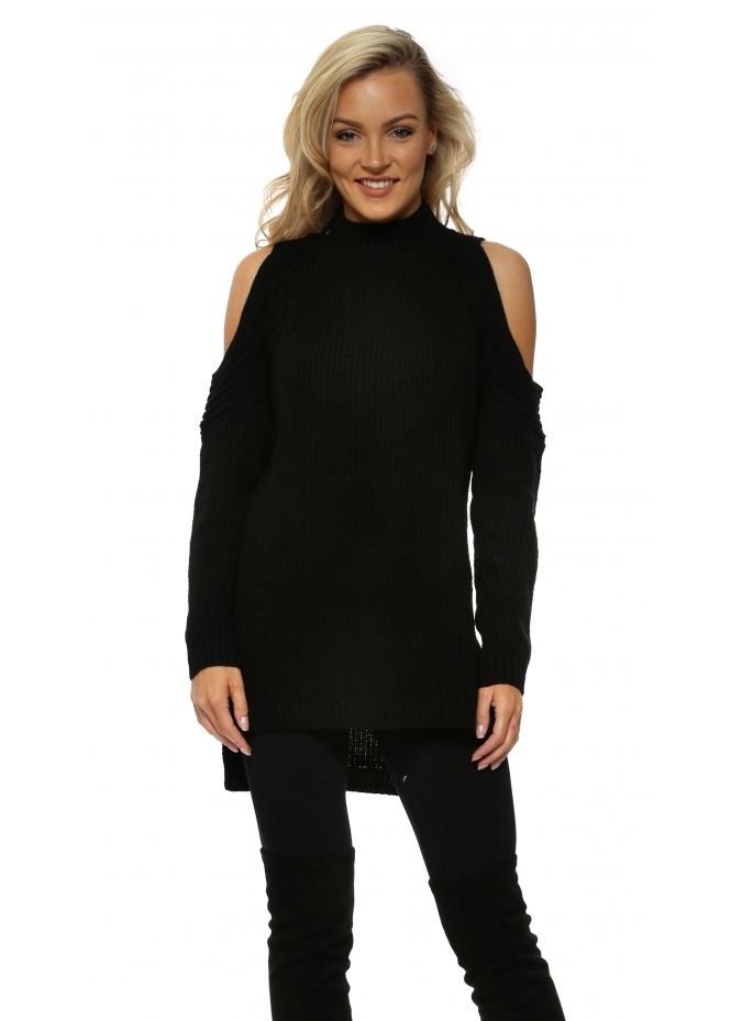 Nicole Black Polo Neck Cold Shoulder Chunky Knit Jumper