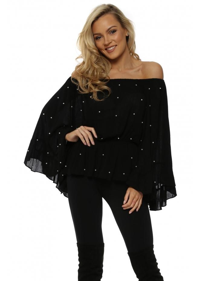 French Boutique Pearl Embellished Black Off The Shoulder Top
