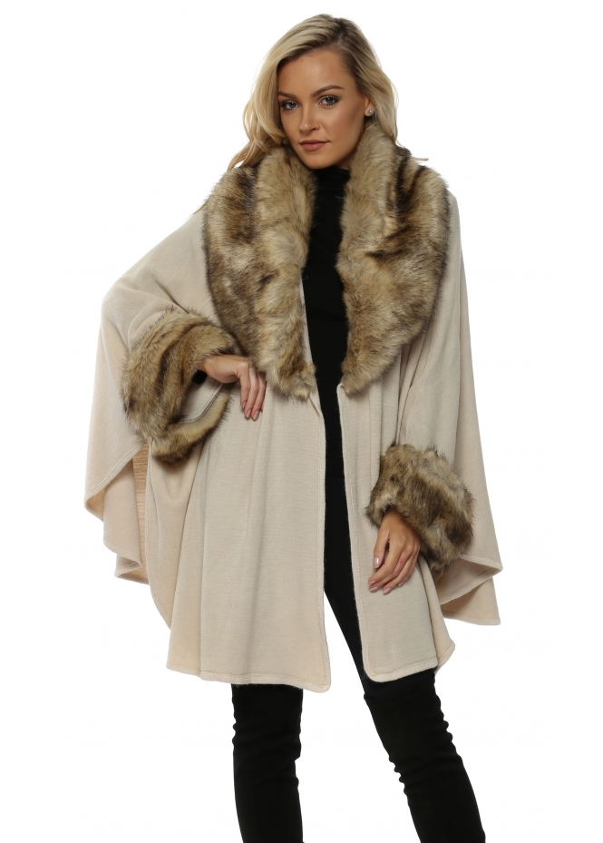 Urban Mist Beige Oversized Knitted Swing Cape With Faux Fox Trim