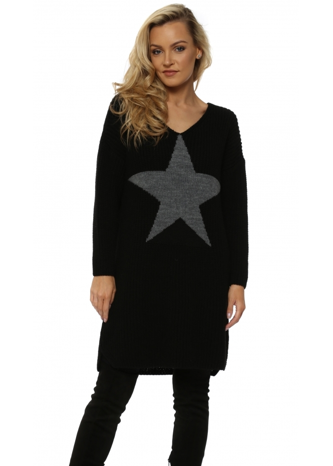 J&L Paris Chunky Knit Long Star Front Black Jumper
