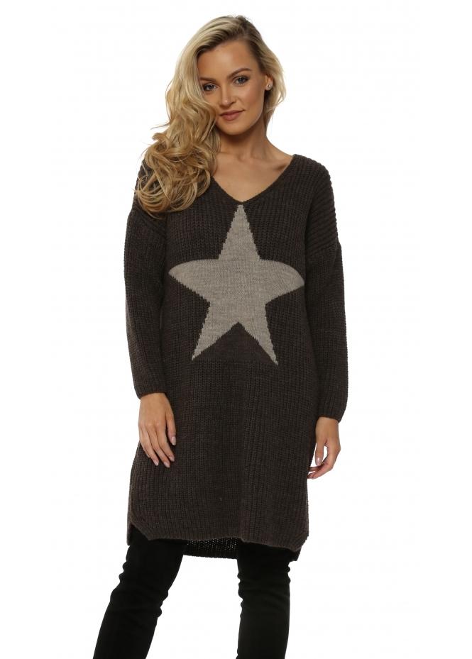 J&L Paris Chunky Knit Long Star Front Brown Jumper