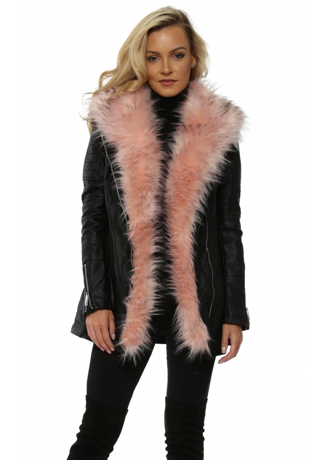 French Boutique Leather Look Coat With Detachable Pink Faux Fur Trim