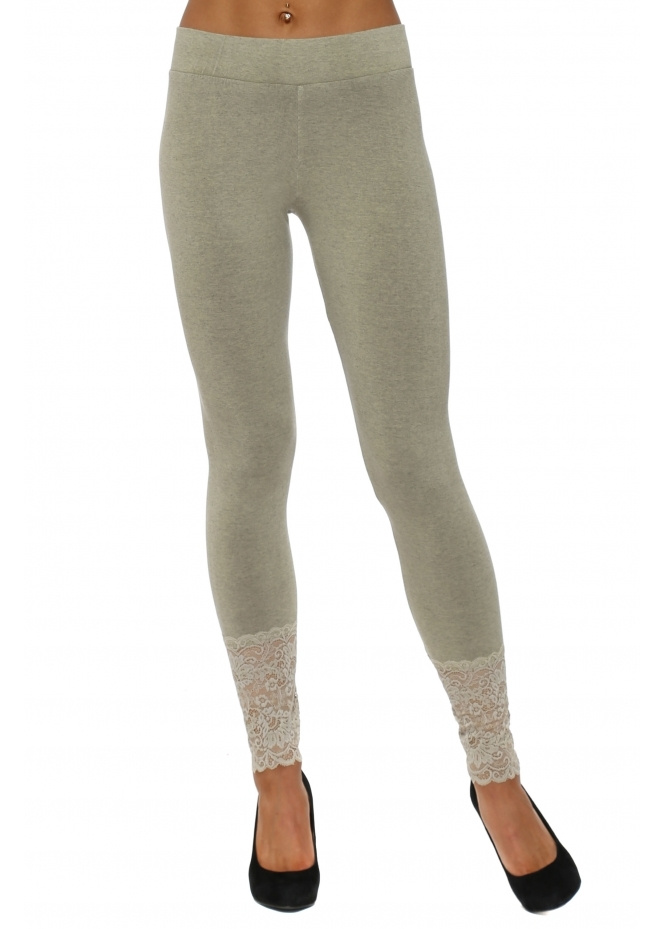A Postcard From Brighton Biba Nomad Melange Jersey Lace Bottom Leggings
