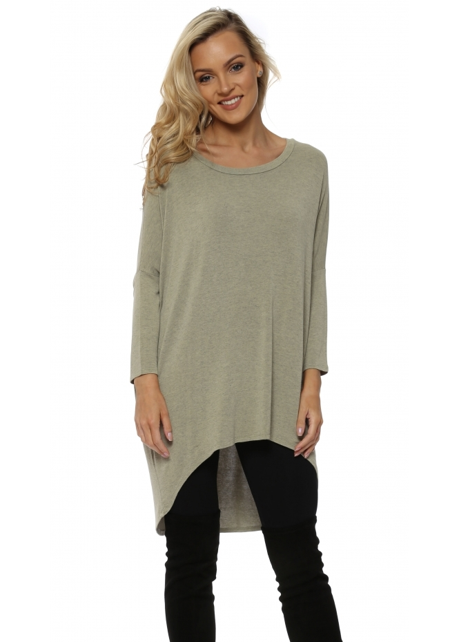 A Postcard From Brighton Nomad Melange Flirty Dip Hem Slouch Top