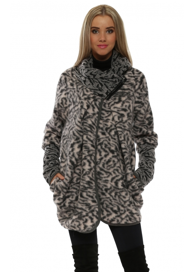 French Boutique Pink Wool Animal Print Coatigan