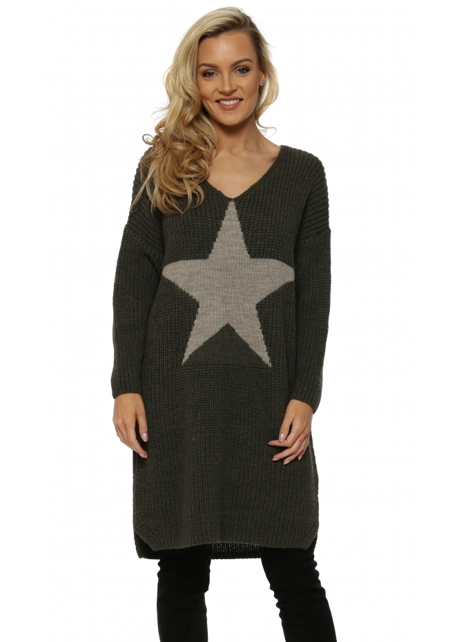J&L Paris Chunky Knit Long Star Front Khaki Jumper