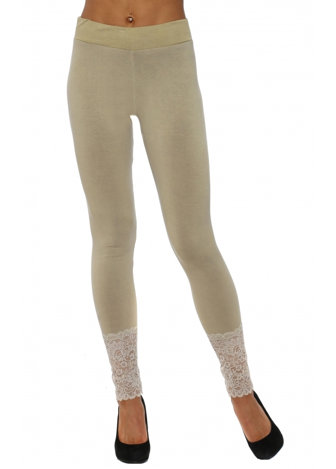 A Postcard From Brighton Biba Plain Nomad Jersey Lace Bottom Leggings