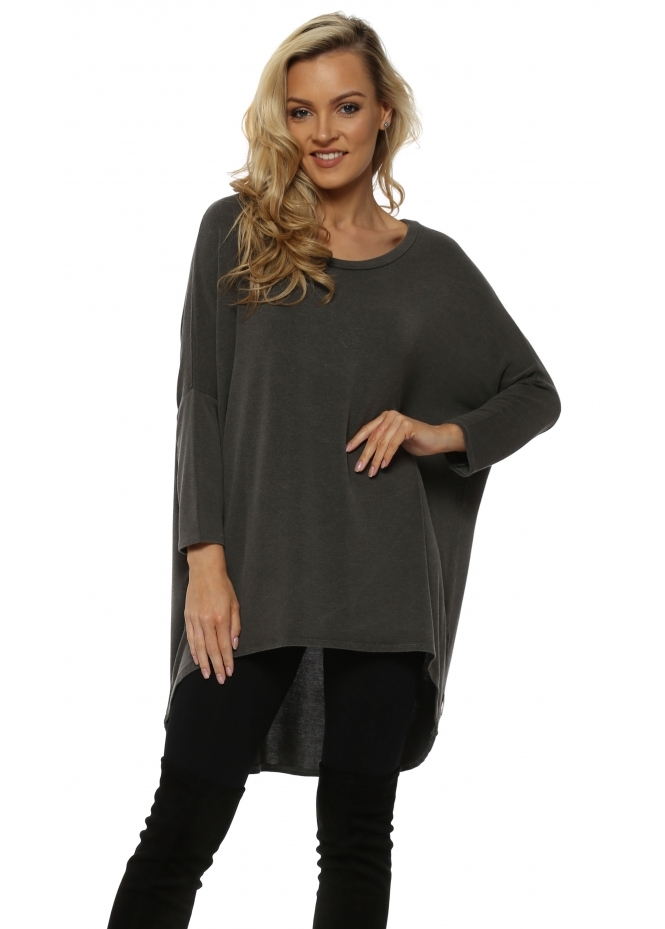 A Postcard From Brighton Bark Melange Flirty Dip Hem Slouch Top