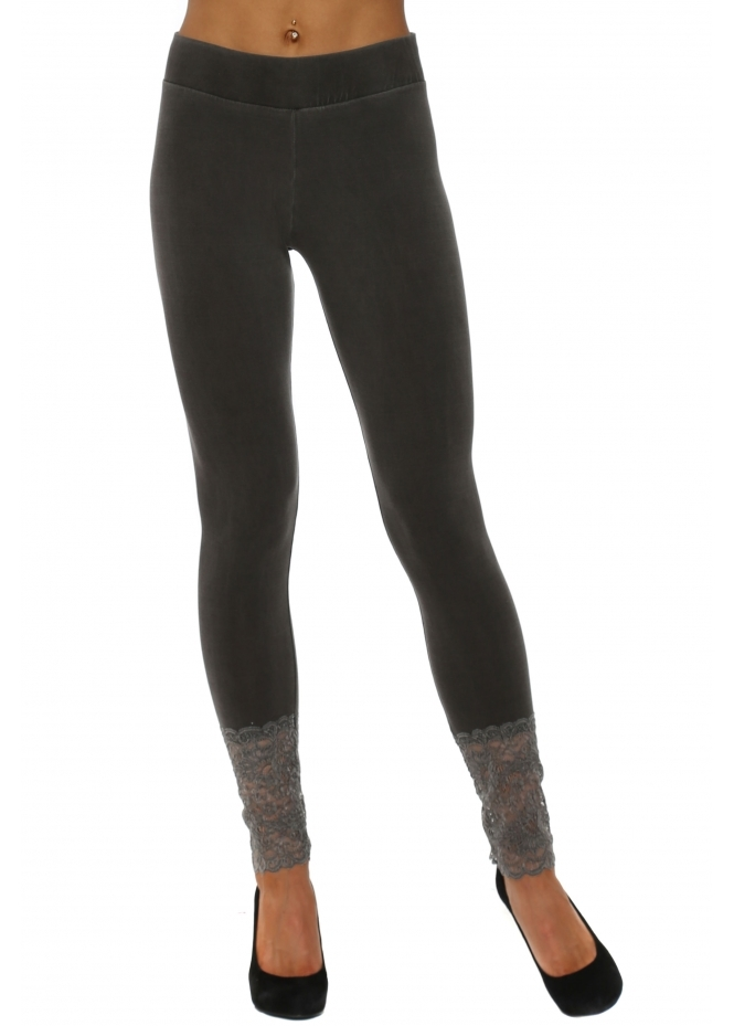 A Postcard From Brighton Biba Plain Bark Jersey Lace Bottom Leggings