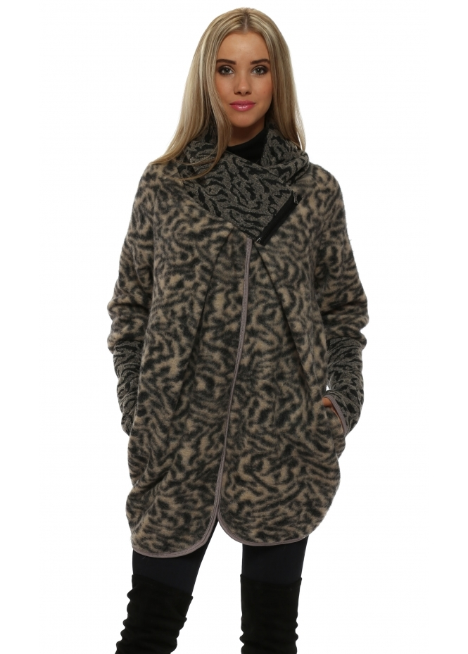 French Boutique Mocha Wool Animal Print Coatigan