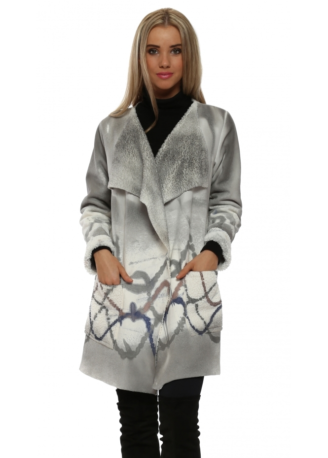 Pinka Grey Faux Shearling Paint Splash Coat