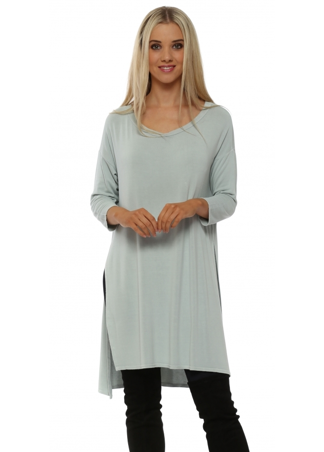 A Postcard From Brighton Flavia Desert Sage Flighty Split Sides Slouch Top