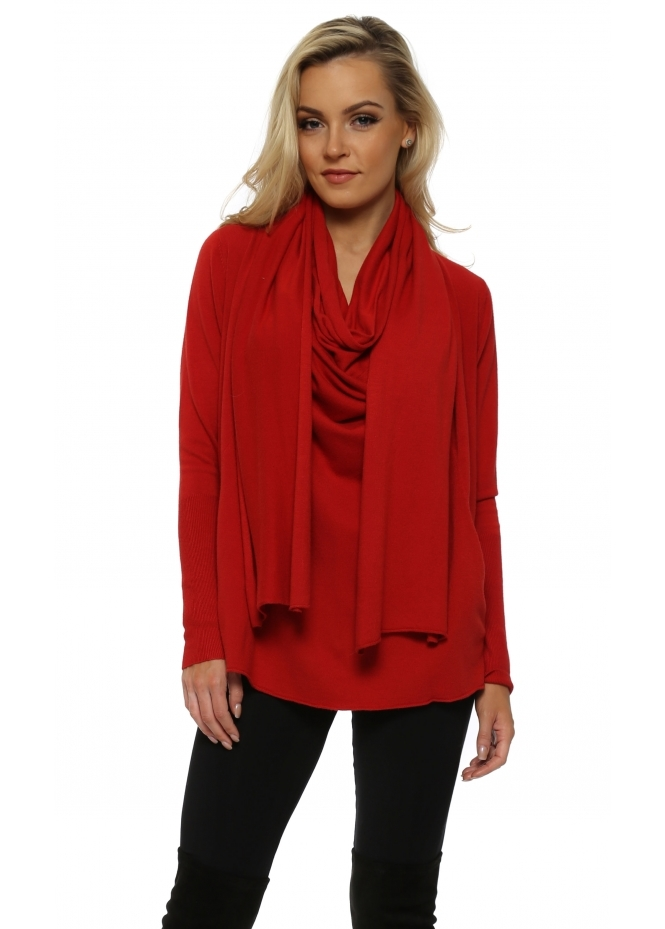 French Boutique Red Cowl Scarf Neck Pockets Jumper