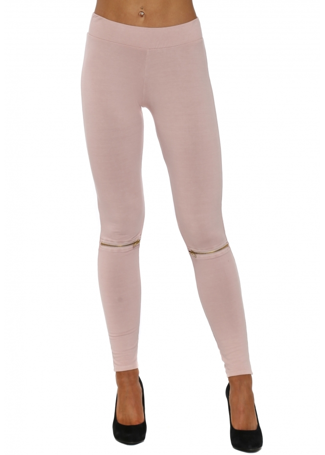 A Postcard From Brighton Flasher Zip Detail Chalk Jersey Leggings