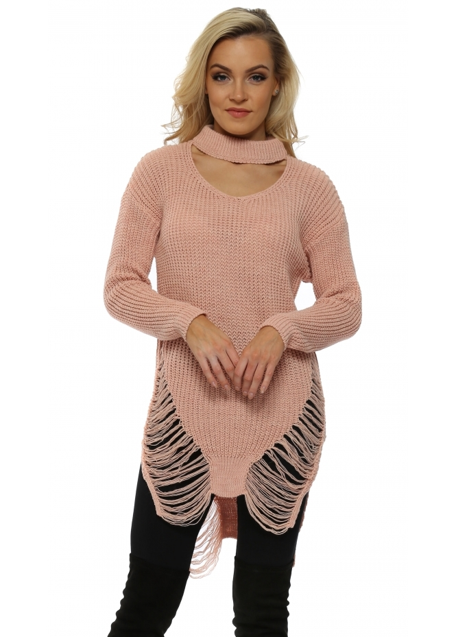 Made In Italy Pink Distressed Choker Chunky Knit Jumper