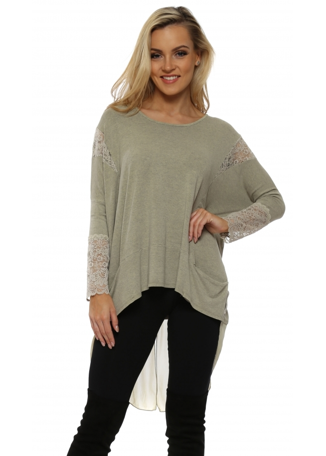 A Postcard From Brighton Tammy Nomad Melange Mesh & Lace Dip Hem Top