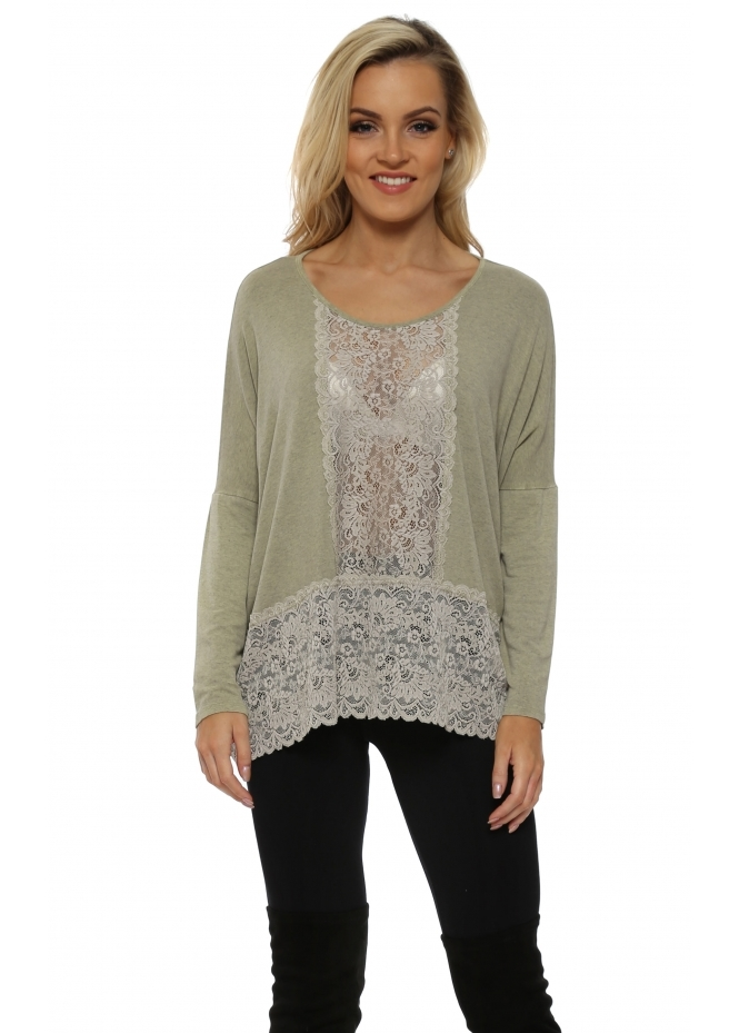 A Postcard From Brighton Binkie Nomad Melange Lace Insert Slouch Top