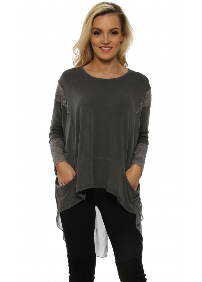 A Postcard From Brighton Tammy Bark Mesh & Lace Dip Hem Top