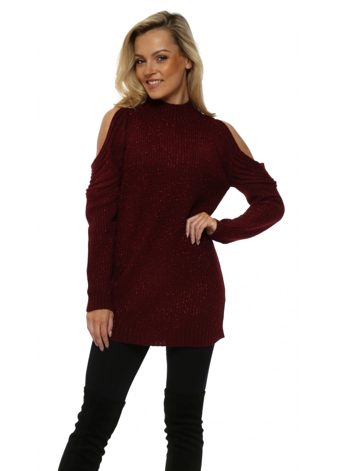 French Boutique Burgundy Polo Neck Cold Shoulder Chunky Knit Lurex Jumper
