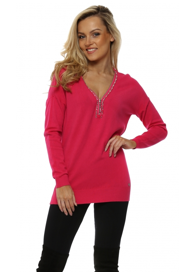 Made In Italy Hot Pink Diamonte Zip Jumper