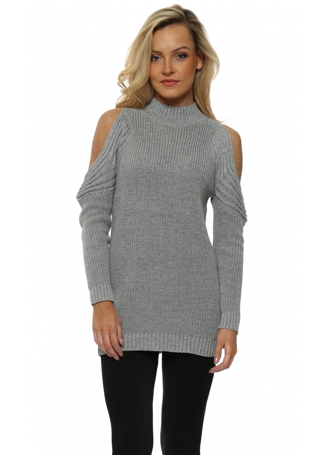 French Boutique Grey Polo Neck Cold Shoulder Chunky Knit Lurex Jumper