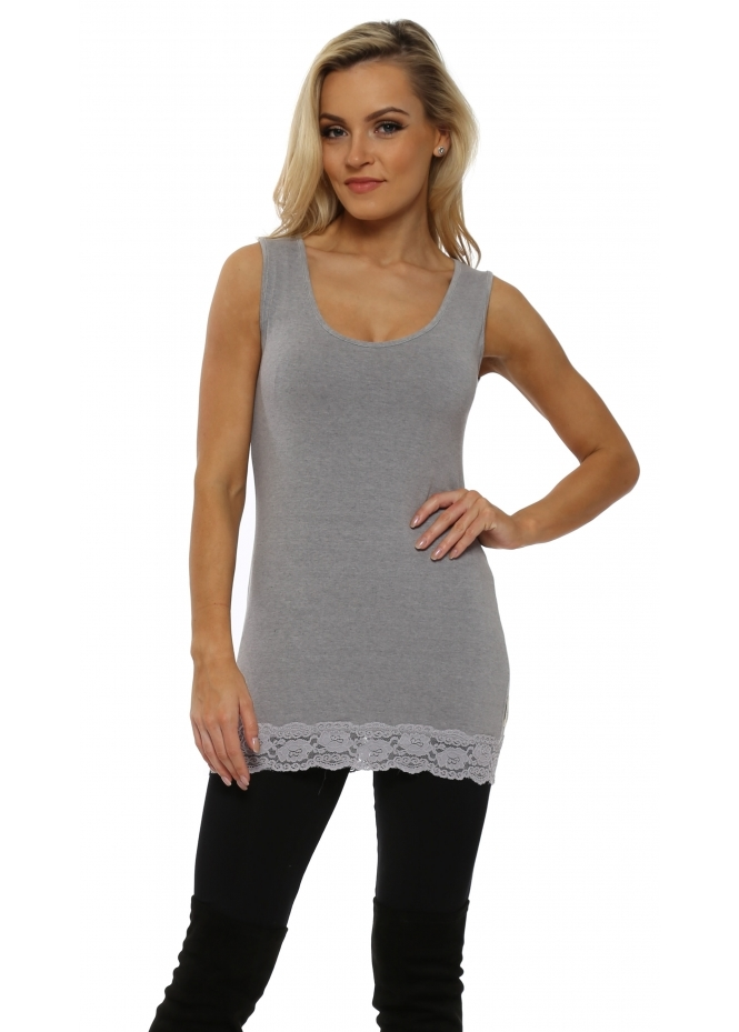 A Postcard From Brighton Suzee Lace Border Vest In Gull Melange