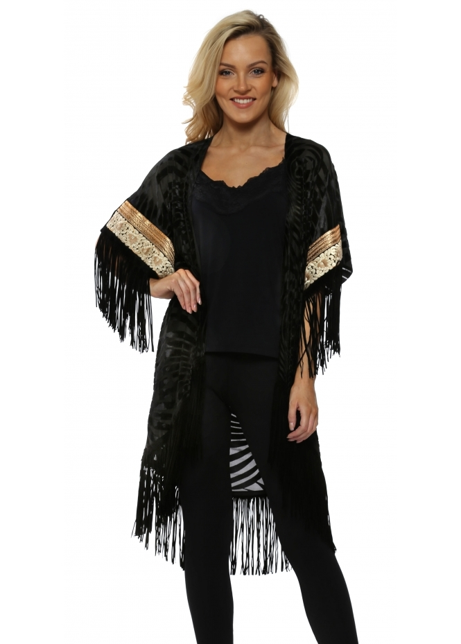 My Story Black Devore Velvet Tassel Gold Braid Kimono Cape