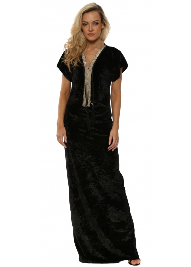 Laurie & Joe Black Crushed Velvet Tassle Necklace Maxi Dress
