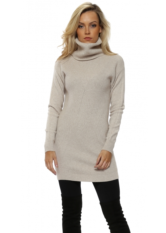 Pinka Beige Soft Knit Ribbed Polo Neck Jumper