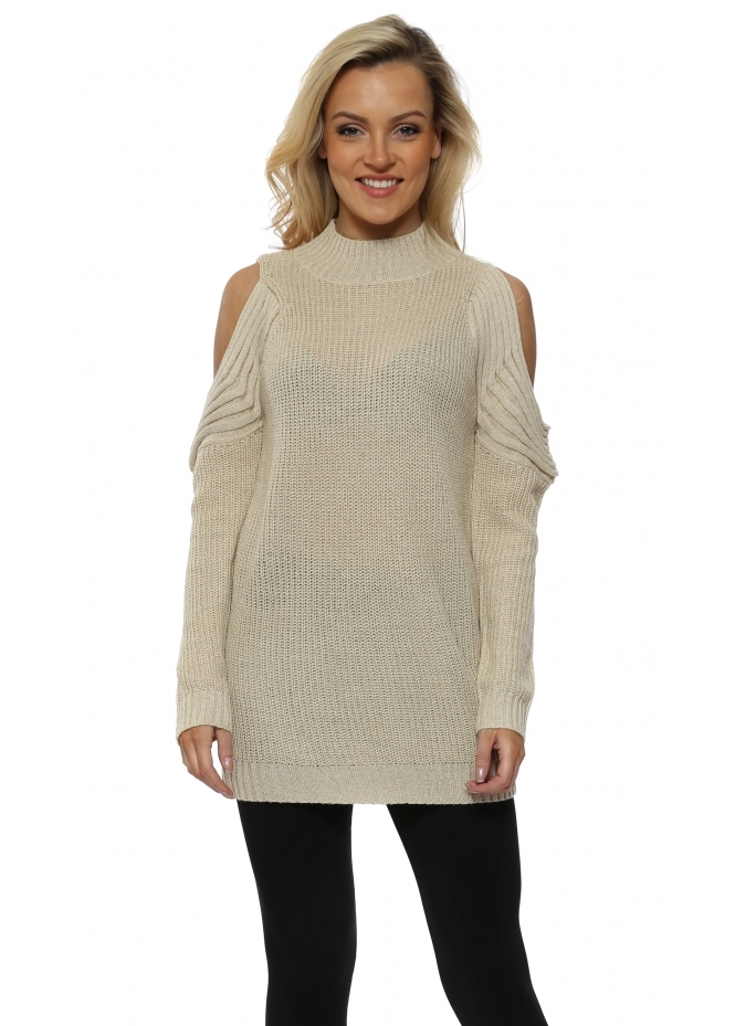 Nicole Cream Polo Neck Cold Shoulder Chunky Lurex Knit Jumper