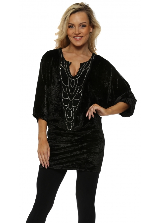 Laurie & Joe Black Velvet Beaded Crochet Detail Tunic Top
