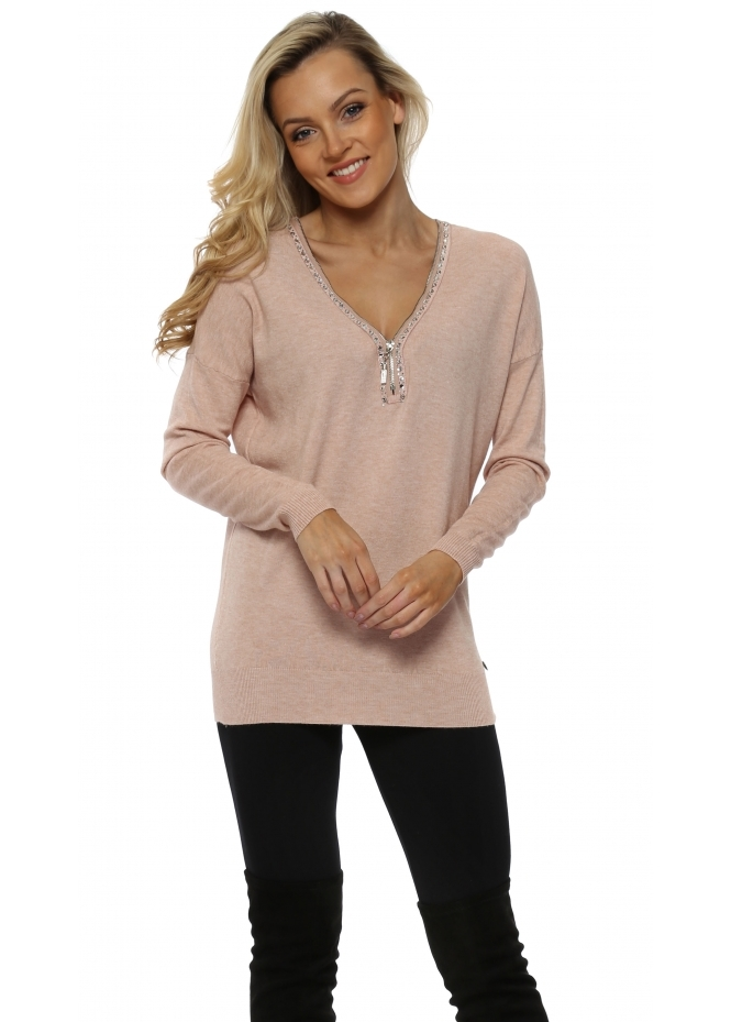 Made In Italy Baby Pink Diamonte Zip Jumper