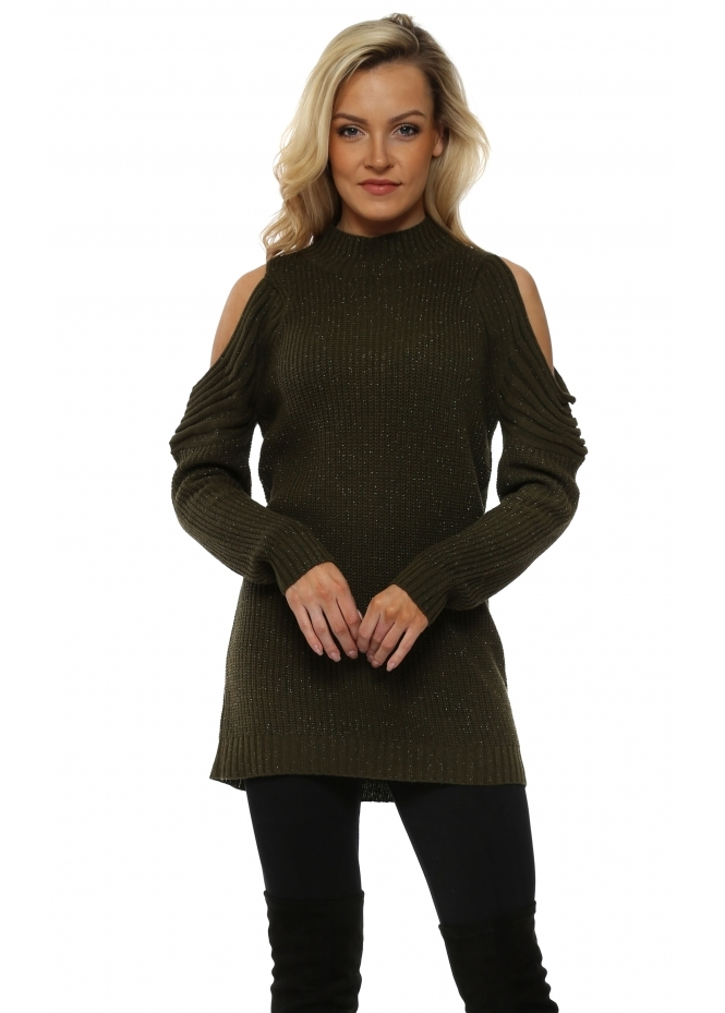Nicole Khaki Polo Neck Cold Shoulder Chunky Lurex Knit Jumper