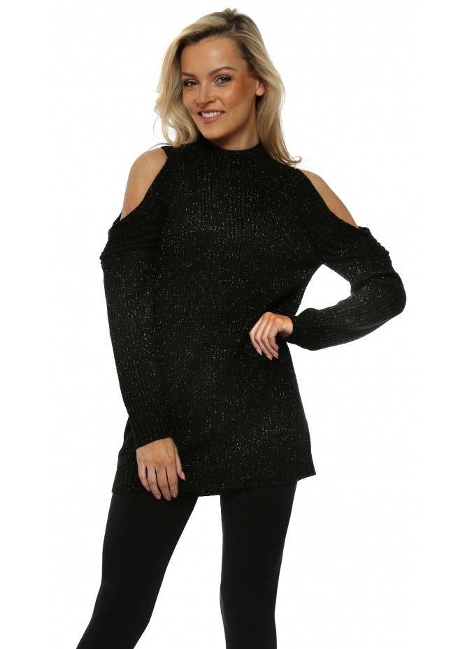 Nicole Black Polo Neck Cold Shoulder Chunky Knit Lurex Jumper