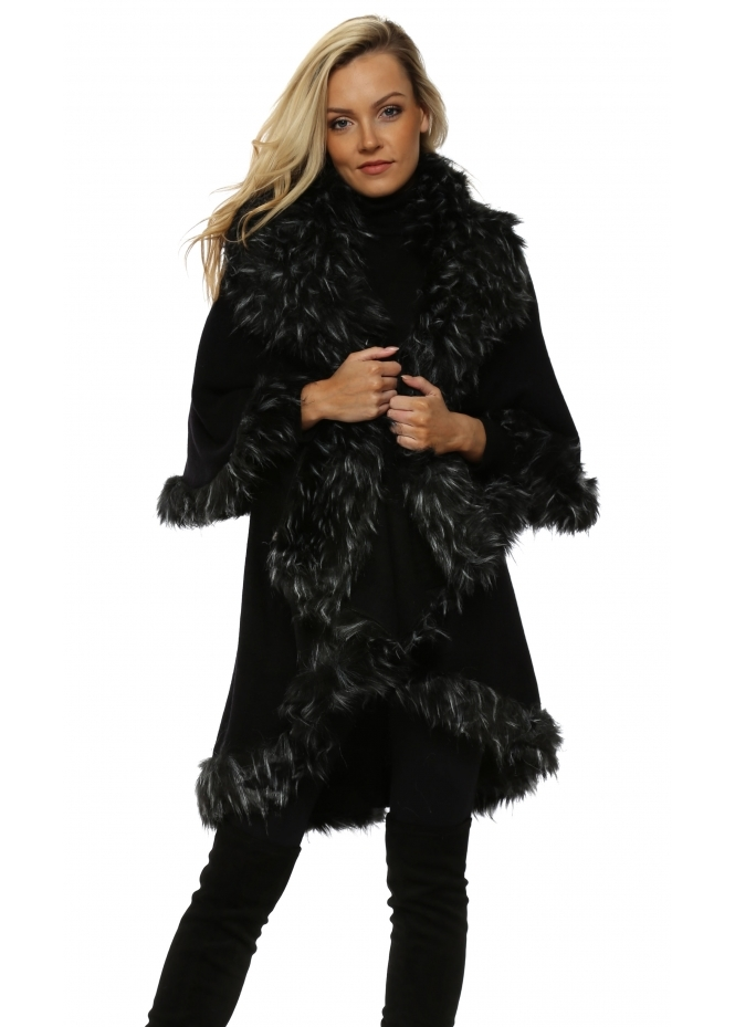 Urban Mist Black Double Layered White Tipped Faux Fur Cape