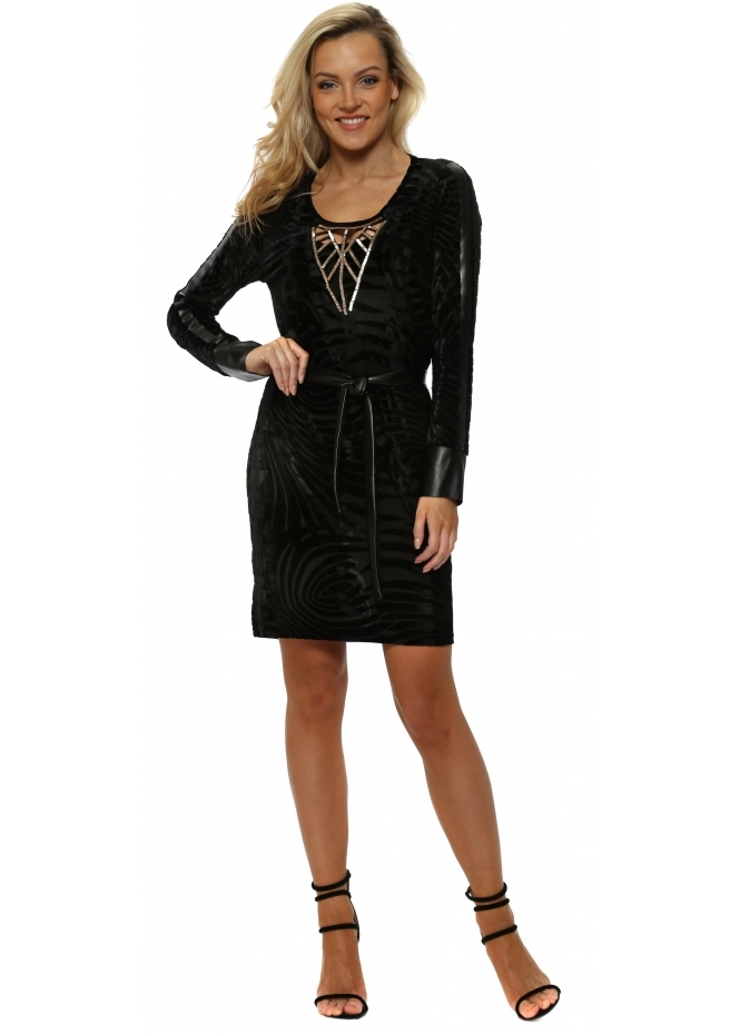 My Story Black Velvet Devore Beaded Tunic Dress