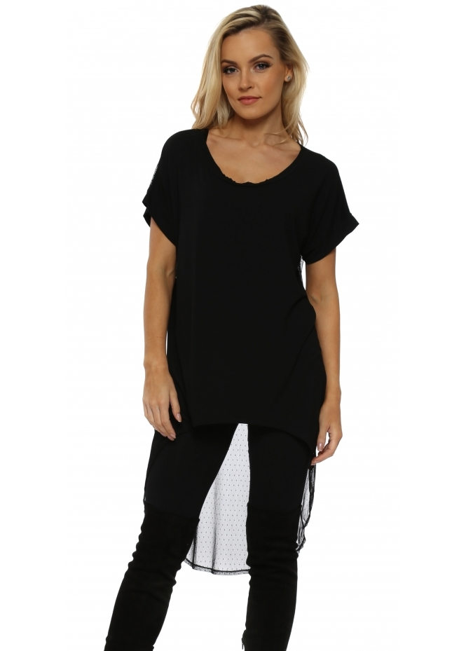 A Postcard From Brighton Black Suzee Spot & Dot Back Dip Hem Top