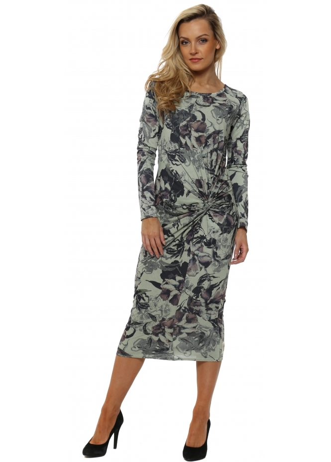 A Postcard From Brighton Demi Herb Jersey Knot Dark Romance Midi Dress
