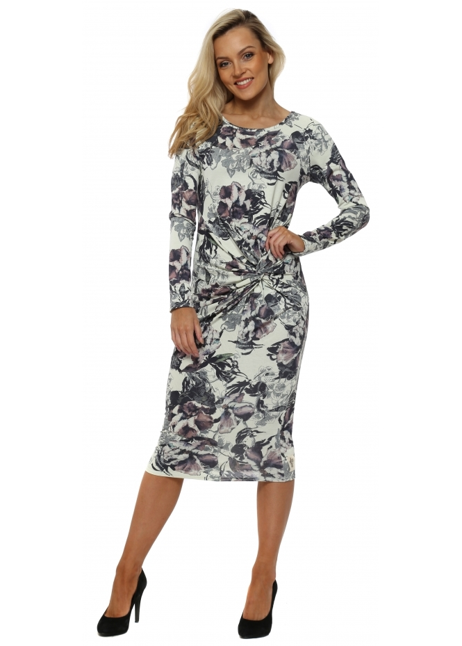 A Postcard From Brighton Demi Bone Jersey Knot Dark Romance Midi Dress